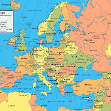 map of europe with country names and capitals show map of europe with all countries major tourist
