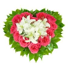 Roses And Lilies S7 Flower Arrangement Heart With Lilies And Roses Flowers Ee
