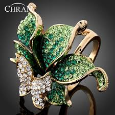 butterfly crystal rings images Gold color party jewelry rings butterfly shape gold secret jpg