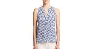elephant blouse lyst joie aruna silk elephant print sleeveless blouse in blue