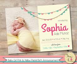 baby announcement cards baby girl birth announcement printable baby announcement