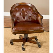 Dining Room Chair Casters Brown Leather Chair With Curving Back Combined With Brown Wooden