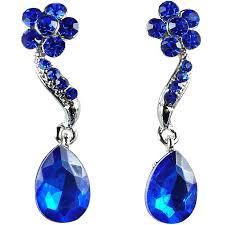 royal blue earrings buy costume jewelry fashion royal blue diamante teardrop drop earrings
