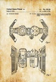 Star Wars Office Decor Star Wars Tie Bomber Patent Patent Print Wall Decor Star Wars