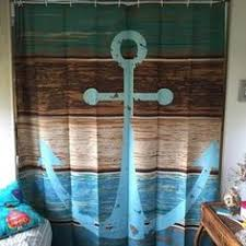 Machine Washable Shower Curtain Nautical Anchor Rustic Wood Shower Curtain Water Soap And
