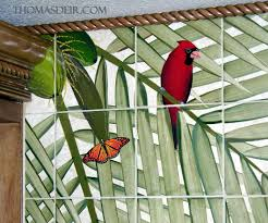 tropical birds painting on tile murals thomas deir honolulu hi butterfly cardinal bird wall tile mural detail