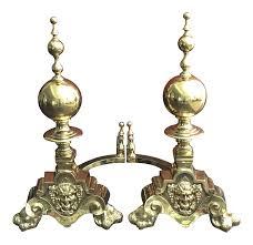 antique english brass bacchus dionysus andirons a pair chairish