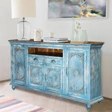 appalachian distressed sky blue solid wood 3 drawer sideboard