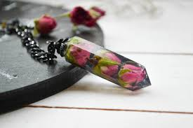 real crystal necklace images Real rose necklace crystal point necklace real flowers etsy jpg