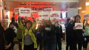 demonstrators flock to food court in san francisco mall speak out
