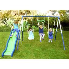playground metal swing set outdoor play slide kids backyard