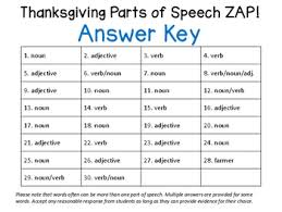 thanksgiving nouns verbs adjectives zap by the s desk 6
