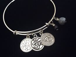 charm bracelet with evil eye images Yoga inspired silver adjustable bangle expandable charm bracelet JPG