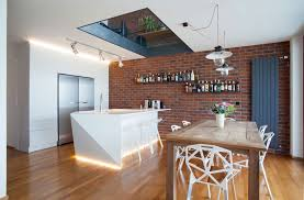 excellent open kitchen decors with awesome exposed brick wall feat