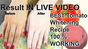 skin whitening tomato miracle fair skin results in live video