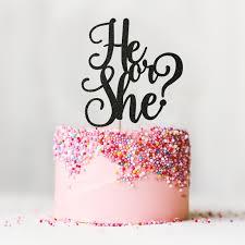 gender reveal cake topper he or she glitter cake topper girl or boy birthday decor baby