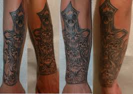 great 3d celtic cross tattoo on right forearm photos pictures
