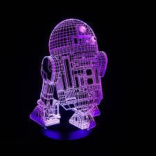 new figure 7colors robot r2d2 3d visual led lights