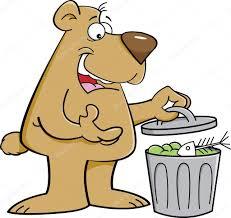 imagenes animadas oso oso de dibujos animados en un bote de basura vector de stock