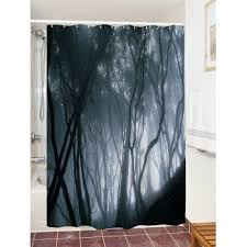 Waterproof Fabric Shower Curtains Fog Forest Print Waterproof Fabric Bathroom Shower Curtain Black