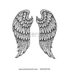 angel wings illustration engraved style hand stock vector