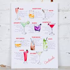 cosmopolitan recipe cocktail recipe watercolour art print by yellowstone art boutique