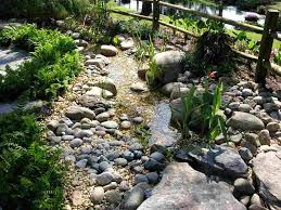 small creek water garden designs ideas with stone river plus
