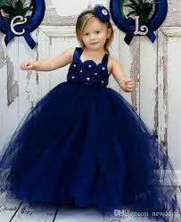 cheap navy blue ball gown flower dress bead 7 year old little