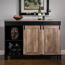 kitchen cabinet sliding doors glitzhome 47 20 in l modern industrial black wine cabinet