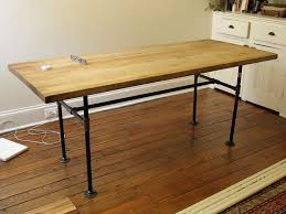 Kitchen Office Furniture Antique Butcher Block Work Table With Rectangle Wooden Top And