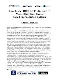 live leak ibps po prelims 2017 model question paper blue taxes