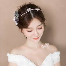wedding headdress modest handmade yarn flower headband hair accessories bridal
