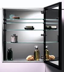 bathroom black framed cabiner mirror with glass racks for