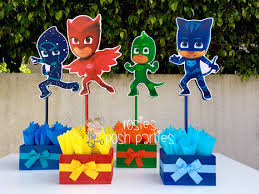 pj masks handcrafted wood centerpiece birthday special