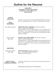 resume outlines exles resume sles ideal resume outline exle free career resume