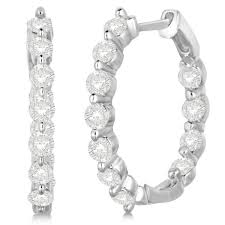 inside out diamond hoop earrings inside out diamond hoop earrings prong set 14k white gold 1 34ct