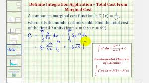 ex definite integral of marginal cost to find total cost youtube