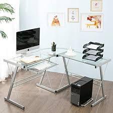 Amazoncom Modern Luxe by Merax Glass Lshaped Corner Desk Office