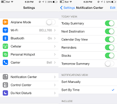 how to sort and order notifications in notification center on iphone