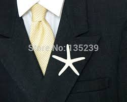 mens boutonniere starfish boutonniere shell lapel pin wedding button