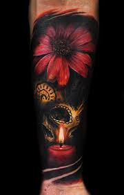 flower and skull by max pniewski design of tattoosdesign