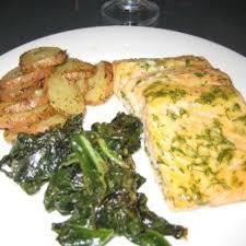 dill mustard salmon mustard greens and potatoes with mustard dill glaze