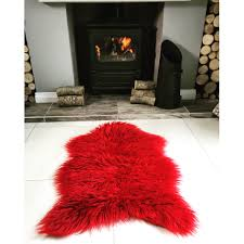 red soft shaggy faux sheepskin rug kukoon