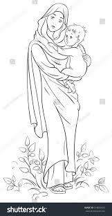 virgin mary holding baby jesus christian stock vector 219820522