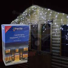 outdoor led icicle christmas lights 23 8m premier 960 led snowing outdoor icicle christmas lights in