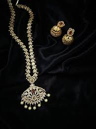indian wedding necklace images Cz and ruby long bridal necklace with jhumka earrings indian etsy jpg