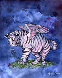 winged white tiger cub by cybercat on deviantart