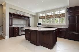 corner white wooden mixed cherry wood kitchen island dark kitchen