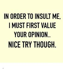 Meme Insults - in order to insult me i must first value your opinion nice try