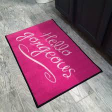 hello gorgeous pink door mat doormat on modern home decoration 1